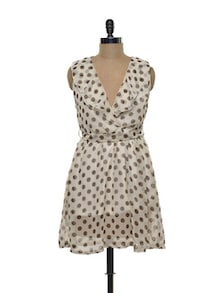 Beige And Brown Polka Dot Dress - Purys