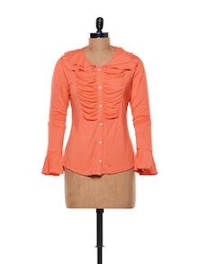 Ruched Orange Top - CHERYMOYA