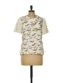 Sparrow Print Designer Top - CHERYMOYA