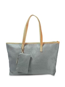 Weave Quilted Silver Tote Bag - Bags By Just Women