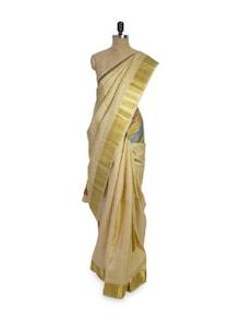 Off-White And Gold Saree - Pratiksha