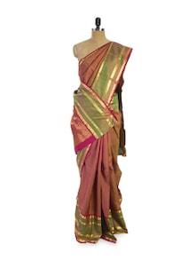 Sober Pink And Green Saree - Pratiksha