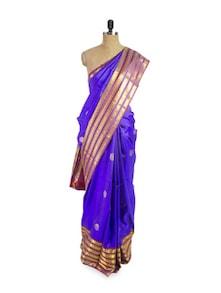 Blue Silk Saree With Striped Border - Pratiksha