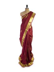 Dark Red Saree - Pratiksha
