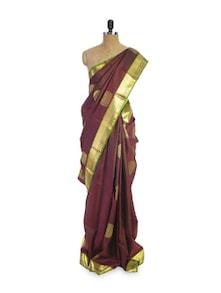 Maroon And Greenish Gold Saree - Pratiksha