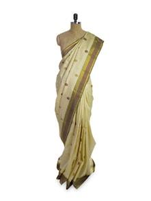 Off-White Silk Saree - Pratiksha