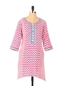 Long Sleeved Pink Printed Kurta - Aaboli