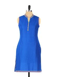 Plush Blue Collared Neck Long Kurta - Aaboli