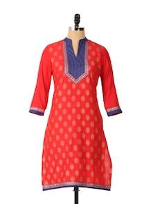 Red Stylish Long Sleeved Kurta - Aaboli