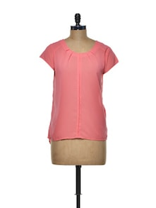 Pleated Pink Polyester Top - I AM FOR YOU