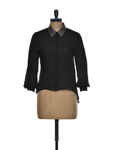 Chic Black Window Shirt - I AM FOR YOU