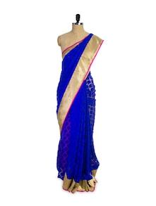 Electric Blue And Gold Net Saree - Pothys