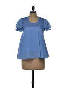 Lace Yoke Top In Cerulean Blue - Tapyti