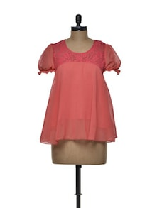 Bright Coral Chiffon Top - Tapyti