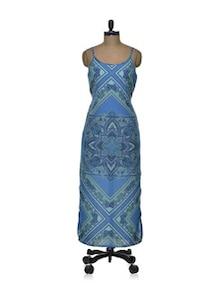 Blue Block Print Maxi Dress - Tapyti