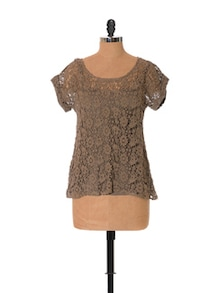 Earthy Brown Lace Top - URBAN RELIGION