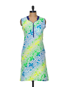 Neon Floral Print Cotton Kurti - KYLA F