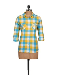 Bright Shirt In Turquoise-Yellow - Overdrive