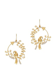 Gold Studded Bird Earrings - Earrings & More....
