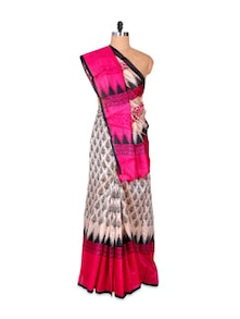Beautiful Pink And Cream Art Silk Saree - Hypno Tex