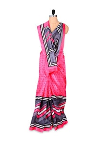 Beautiful Pink And Grey Art Silk Saree - Hypno Tex