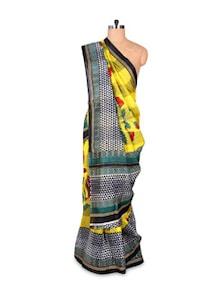 Yellow And Black Art Silk Saree - Hypno Tex
