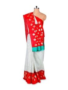 Red And White Art Silk Saree - Hypno Tex