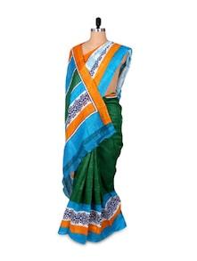 Green And Blue Printed Art Silk Saree - Hypno Tex