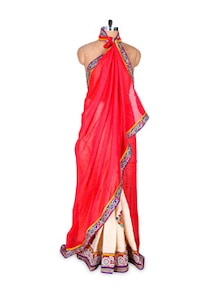 Chic In Cream And Red Saree - Hypno Tex