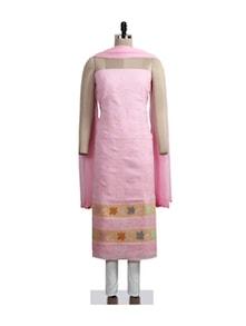 Pretty Pastel Pink Chikankari Suit Piece - Ada