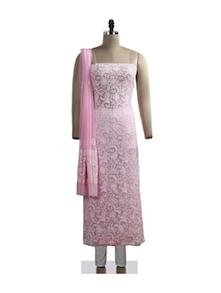 Pink Floral Chikankari Suit Piece - Ada