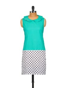 Turquoise-Polka Cotton Kurta With Ruffled Collar - Popnetic