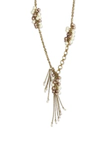 Pearl And Tassel Embellished Gold Necklace - Blend Fashion Accessories