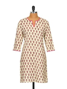 Cotton Beige Kurta With Bright Magenta Piping - Fami India