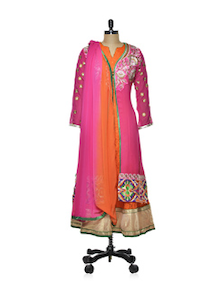 Beautiful Pink-orange Anarkali Suit - Purple Oyster