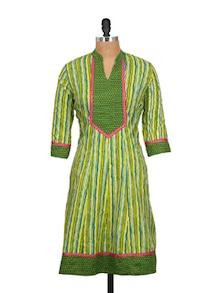 Green And Yellow Printed Kurta - Kwardrobe