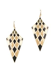 Diva Style Black Gold Rhombus Drop Earrings - Fayon