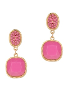 Pink Bead Gemstone Clip-On  Drop Earrings - Fayon