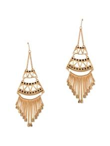 Gold And Black Enamel Tassel Dangler Earrings - Fayon