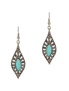 Blue Gemstone Vintage Style Drop Earrings - Fayon