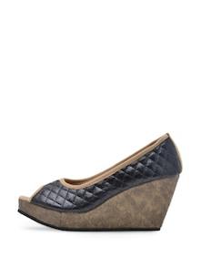 Stylish Black Peep Toe Wedges - Soft & Sleek