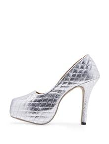 Silver Shimmery High Heels - Soft & Sleek