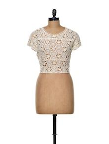 Off-white Cotton Crochet Crop Top - TREND SHOP