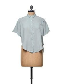Light Blue Crop Shirt - TREND SHOP