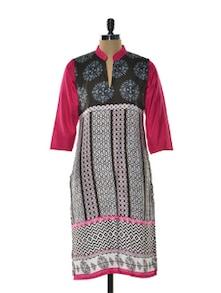 Brown And Pink Printed Kurta - Arya Fashion