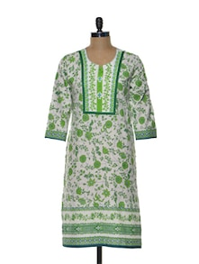 Green And White Printed Kurta - Arya Fashion