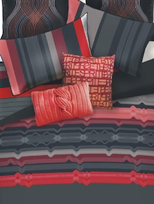 Red And Black Printed Bed Linen Set Of 3 - Esprit