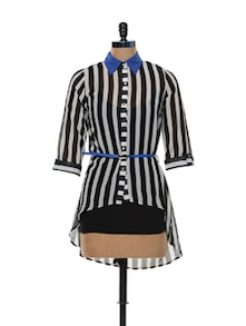 Striped Black And White Asymmetrical Top - Deal Jeans