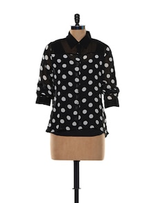 Black And White Polka-Dot Top - Deal Jeans