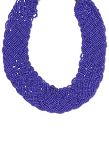 Blue Woven Seed Beads Statement Necklace - Toniq